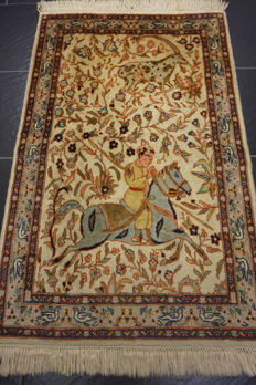 Beautiful handwoven oriental carpet, Paki Qom hunting motif 65 x 110 cm, cork wool, made in Pakistan