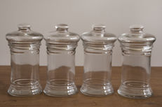 Fantastic antique pharmacy bottles. Four units, from the beginning of 20th century