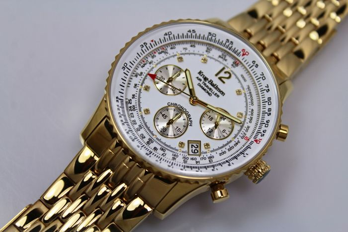 Krug Baumen - Air Traveller -  8 Diamonds - Gold Plated Chronograph Watch - Unworn