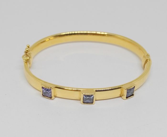 18 kt yellow gold bracelet with aquamarine