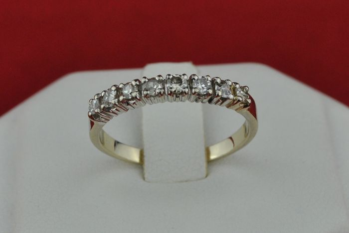 Diamonds (tot.+/- 0.40CT mixed SI-I) set on 18k White Gold Third-setting Alliance/Ring - E.U Size 54 *Re-sizable