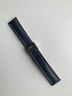 Breitling blue leather strap, 22 mm,   with folding clasp - 2017