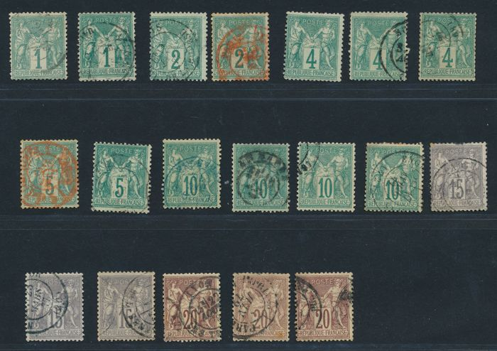 "France 1876 - Collection lot of  ""Sage Type I"" - Yvert n° 61, 62, 63, 64, 65, 66 and 67"
