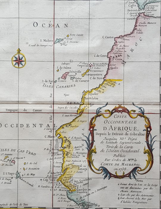 Africa, Spain, Canary Islands, Morocco, Strait of Gibralter; Nicolas Bellin - Coste Occidentale d'Afrique (..) - 1738