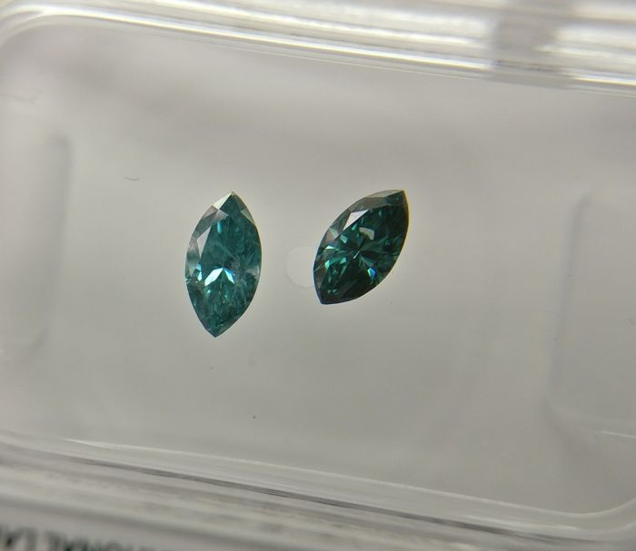 Lot of 2 Marquise cut diamonds total 0.34 ct Fancy Dark Greenish Blue SI2