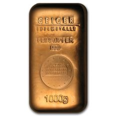 Geiger edelmetalen copper ingot - 1000 gram 999 fine copper with serial number - Schlos Guldengossa seal.
