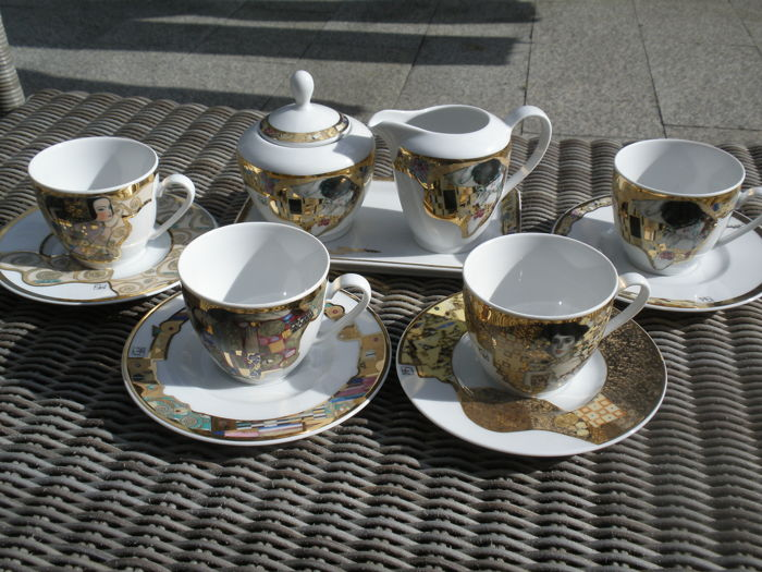 Four cups and saucers with cream set - GUSTAV KLIMT - Bradford Editions