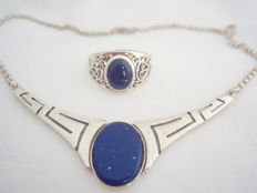 925 silver necklace of 45 cm and ring with lapis lazuli, size: 20/63