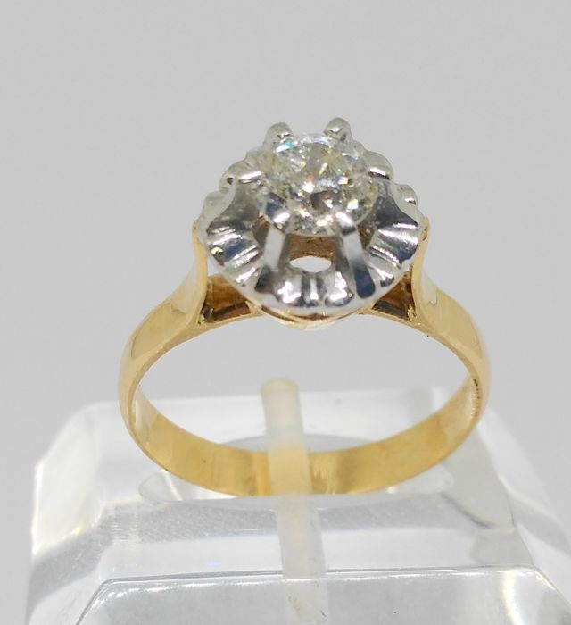 Yellow and white gold ring with diamond of 0.70 ct - Inner size: 17 mm