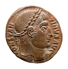 Roman Empire - Constantine I the Great (306-337 A.D.) bronze follis (3,36 g. 18 mm.). Arles mint 326 A.D. PROVIDENTIAE AVGG. S*AR. Rare.