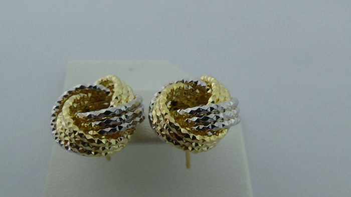 14 kt bicolour gold earrings – Diameter:
