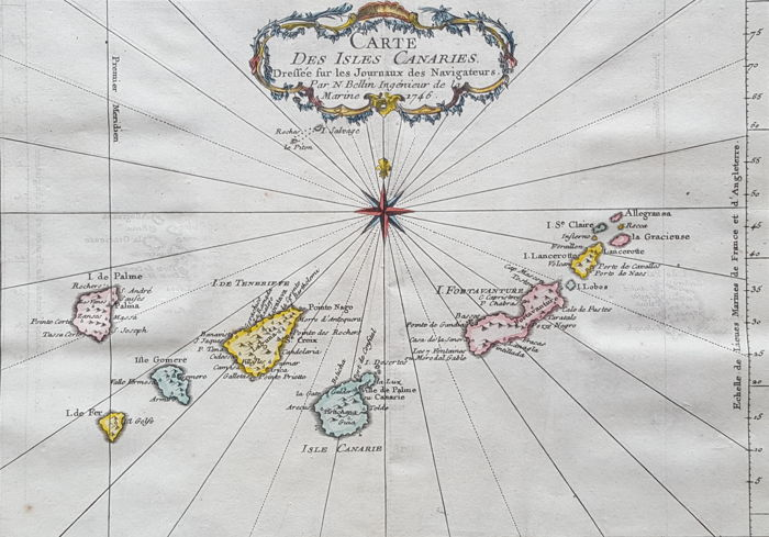 Canary Islands; Nicolas Bellin - Carte des Isles Canaries (..) - 1746