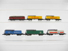 Märklin Z - 6-piece goods train with a diesel locomotive Series BR 216 of the DB and 5 x various four axle tanker wagons [183]