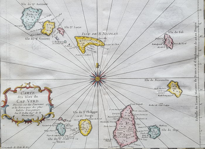 Cape Verde Islands; Nicolas Bellin - Carte des Ifles du Cap Verd - 1746