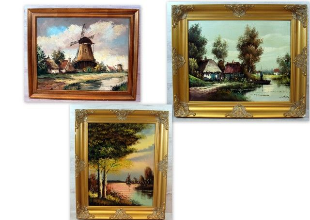 3 x unknown (20th century) - three paintings with antique frames