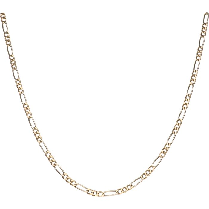 14 kt – Bi-colour, yellow/white gold Figaro link necklace – Length: 50 cm