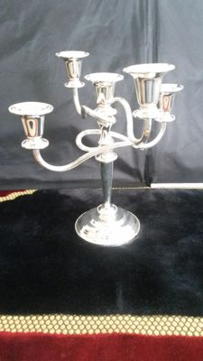 20  century silver plate  5 stick candle  stick  made in England.