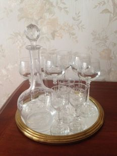 Liqueur service, crystal engraved by BACCARAT FRANCE