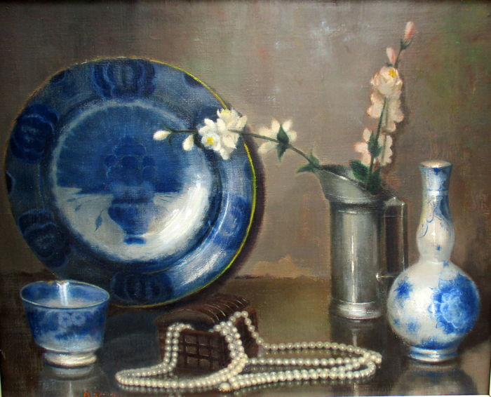 Unknown (mid 20th century) - still life with Delft blue, pewter pot and pearl necklace