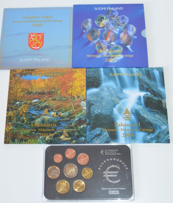 Finland - Year packs 1999, 2002, 2003, 2004, and 2006 (5 pieces in total)