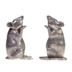 A lovely silver set of salt & pepper shakers Condiments, circa 1970