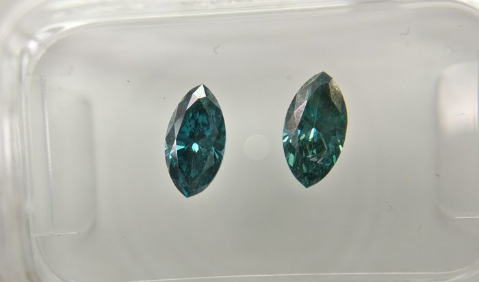 Lot of 2 Marquise cut diamonds total 0.73 ct Fancy Dark Greenish Blue VS2-SI1