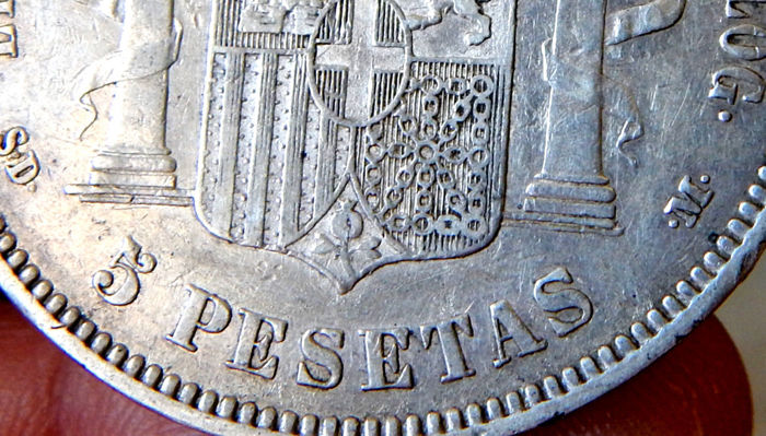 Spain – Amadeo I – 5 Silver Pesetas 1871 *18-71 SDM – Variant base of the right shortest column – Scarce