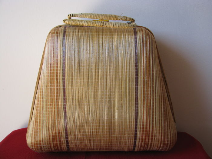Vintage bag made in bamboo, 1970s, Italy