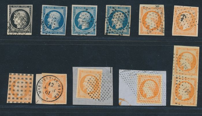 France 1849/1900 - Collection lot of 40 stamps  - Yvert n° 3, 10, 11, 14B, 16, 17A, 17B, 19, 20, 27B, 52, 53, 57, 122