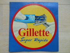 Metal advertising sign for Gillette from 1957