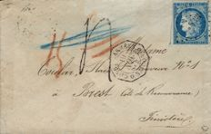 France 1874 - General Colonies Cérès 25 cents cancelled with itinerant traders' diamond and postmark from Saigon army on taxed letter - Yvert no. 23