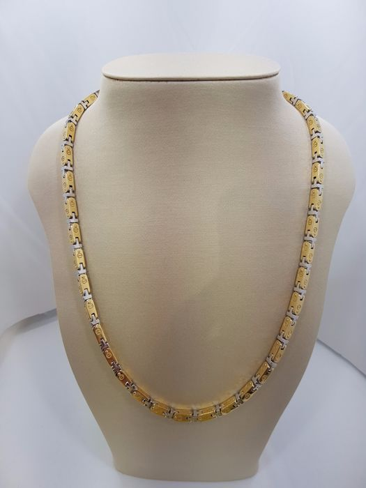 18ct Two Tone Yellow & White Gold Designer Style Chain - 60cm