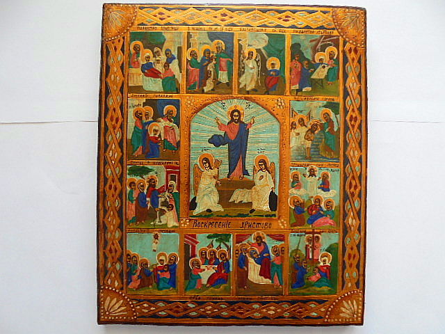 Russian orthodox iсon, great feasts of the orthodox church, hand painted, tempera, wood, XX th century..