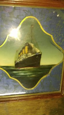 R.M.S. Olympic: glass painting reverse of Olympic in the sea - first half of 20th century