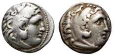 Greek Antiquity – Lot of 2 drachms of Alexander III The Great  (336-323 BC), both posthumously struck – Ref:. Price 1985 and Ref:. Price 1762.