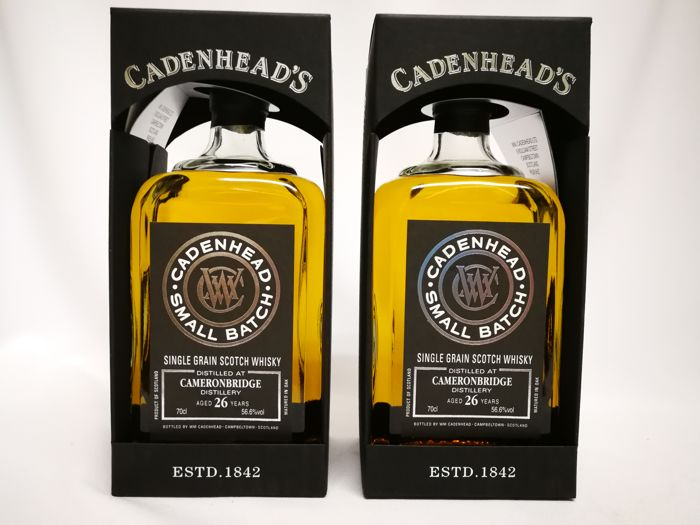 2 bottles - Cameronbridge 26 Year Old 1989 - Small Batch from WM Cadenhead (only 456 bottles made ) 70cl, 56.6%