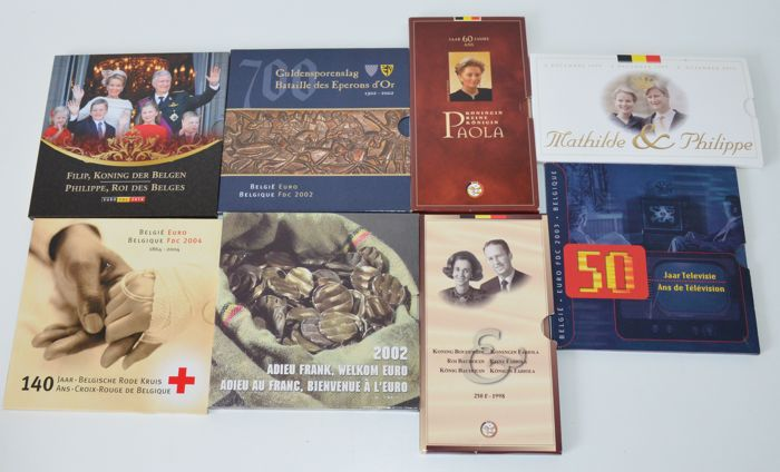 Belgium - Year packs 2002 up to and including 2014 (5 pieces) + various coin sets (3 pieces) - silver