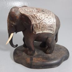 Elephant with sterling silver applique - India - circa 1950