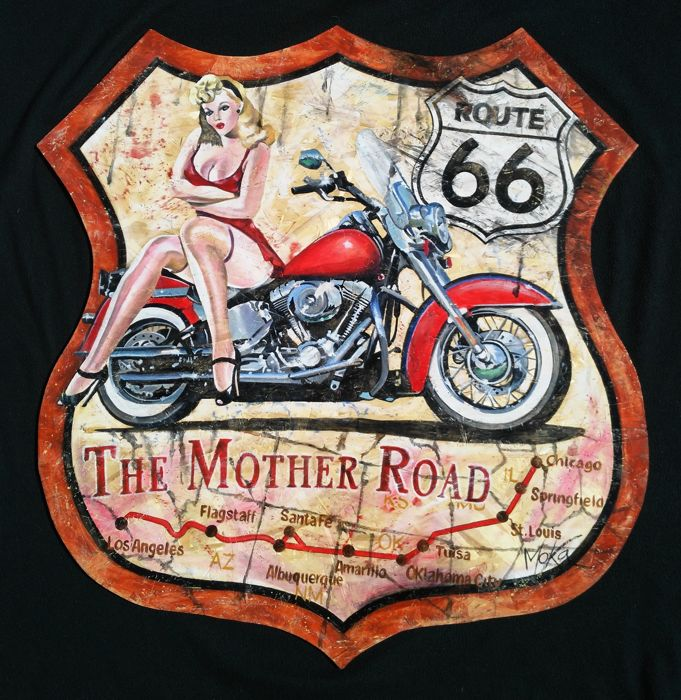Oil painting - Harley Davidson Route 66 - 84 x 87 cm - 2015