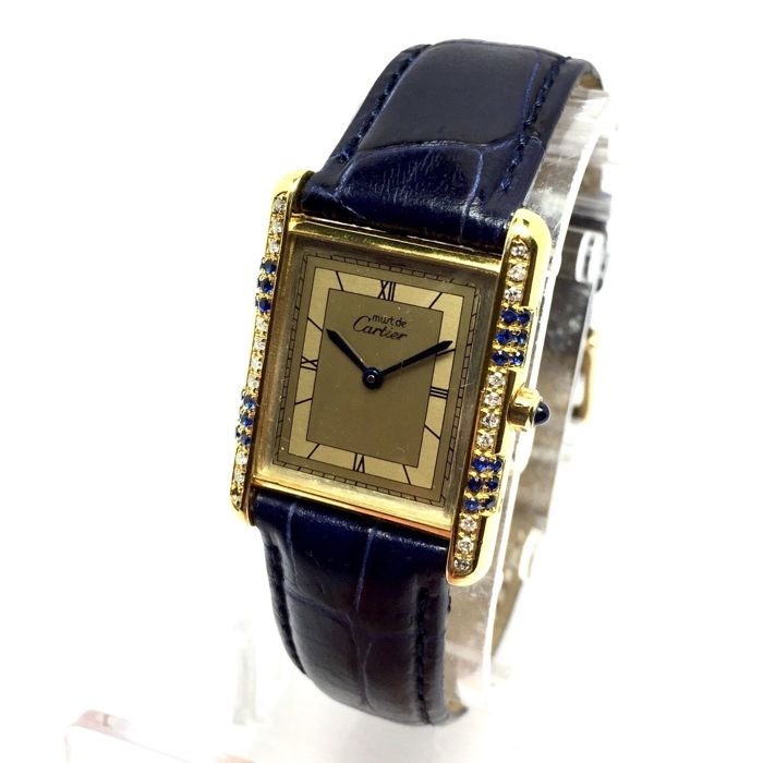 Must De Cartier tank GP 925 Argent Ladies Watch w/ diamonds and Sapphires