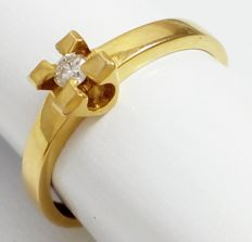 Solitaire ring in 18 kt/750 yellow gold with diamond.