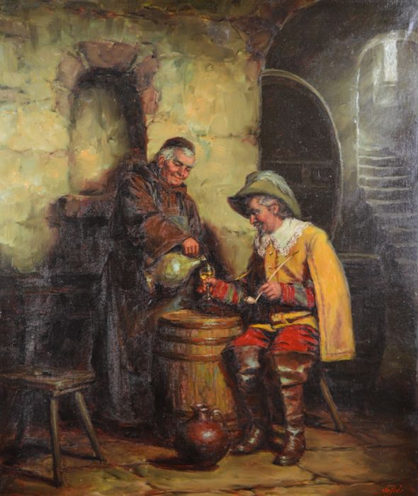 De Prés. (20th century) - Sampling the wine.