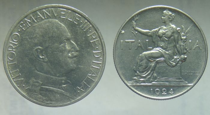 Italy, Kingdom - 1 lira and 2 lire tokens 1924 Vittorio Emanuele III
