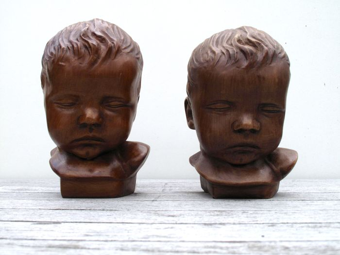 Two children's heads, Mid-20th century