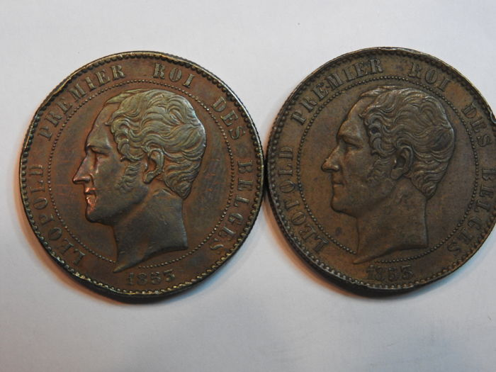 Belgium - Commemorative Medal 10 cents 1853 Leopold I, 2 pieces - copper