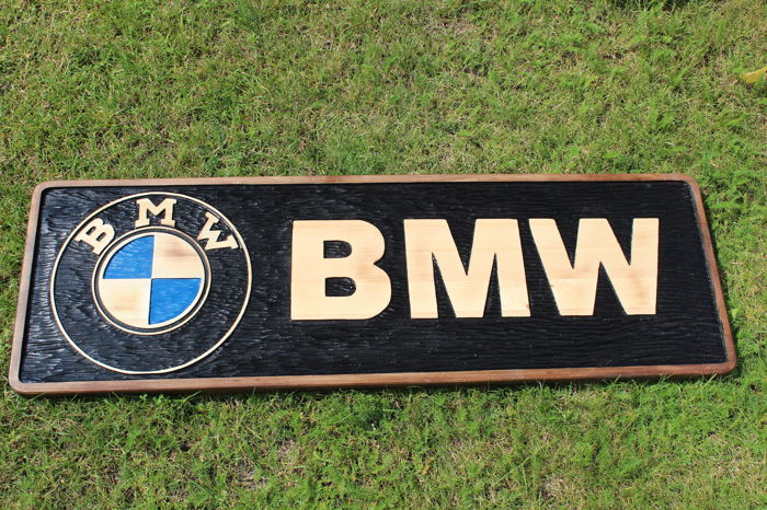 BMW  Unique X-Large logo carved in wood - 101 x 34 cm