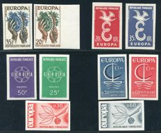 France 1957/1966 - Europe, non-perforated - Yvert 1122/23, 1173/74, 1218/19, 1455/56, 1490/91 ND