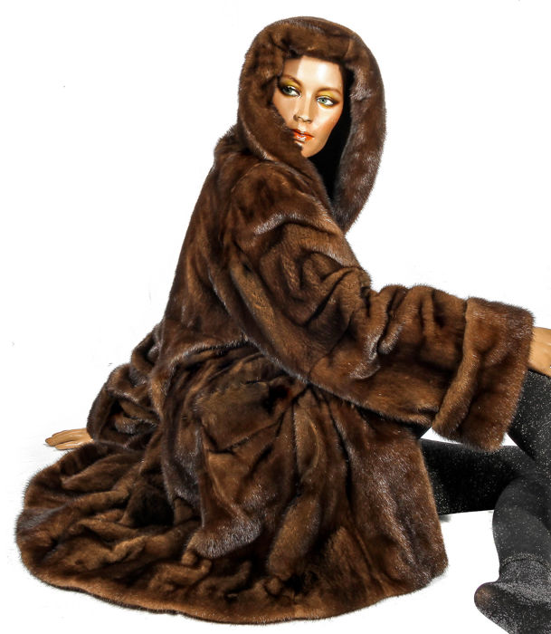 3XL luxurious large fur parka mink fur coat demi buff with oversize hood