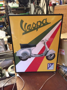Large Piaggio Vespa model GS 160 Scooter Lightbox - Illuminated advertising sign - c.1992