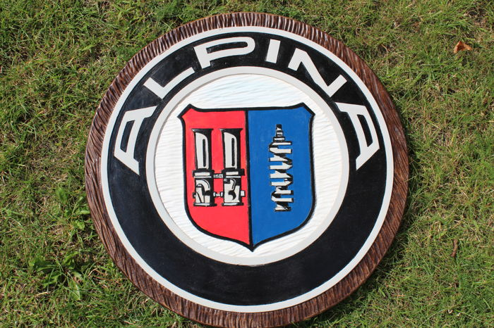 ALPINA   BMW  - Unique Large logo carved in wood - 50 cm